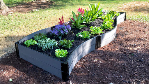 "Tool-Free 'Lazy Curve' - 4' x 12' Raised Garden Bed Raised Garden Beds Frame It All Weathered Wood 1"" 2 = 11"""