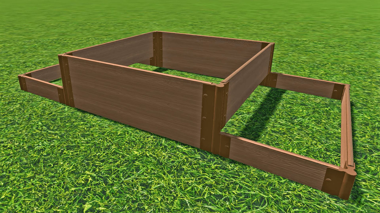 "Tool-Free 'London Tower Bridge' - 4' x 8' Terrace Garden Raised Bed (Double Tier) Raised Bed Planters Frame It All Classic Sienna 1"" 3"