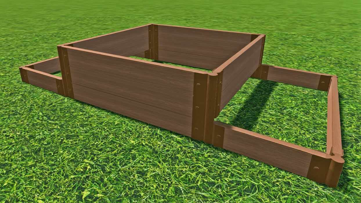"Tool-Free 'London Tower Bridge' - 4' x 8' Terrace Garden Raised Bed (Double Tier) Raised Bed Planters Frame It All Classic Sienna 2"" 3"