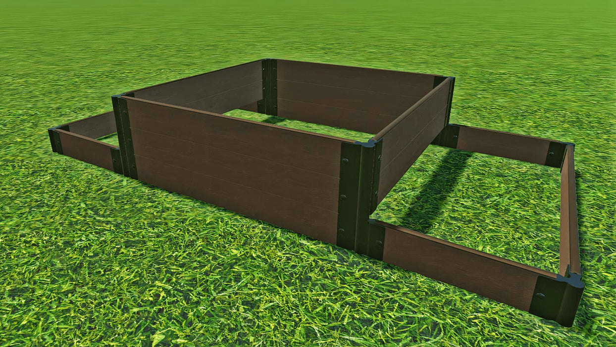 "Tool-Free 'London Tower Bridge' - 4' x 8' Terrace Garden Raised Bed (Double Tier) Raised Bed Planters Frame It All Uptown Brown 1"" 3"
