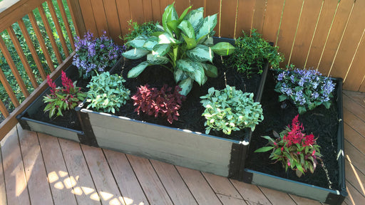 "Tool-Free 'London Tower Bridge' - 4' x 8' Terrace Garden Raised Bed (Double Tier) Raised Bed Planters Frame It All Weathered Wood 1"" 3"