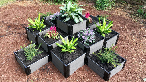 "Tool-Free 'Machu Picchu' - 10' x 10' Terraced Garden Raised Bed (Quad Tier) Raised Bed Planters Frame It All Weathered Wood 1"" 3 Tier"