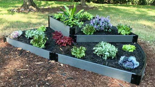 "Tool-Free 'Nelson's Hat' - 6' x 8' Semi Circle Terrace Garden Raised Bed (Triple Tier) Raised Garden Beds Frame It All Weathered Wood 1"" Tri-Level"