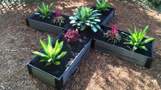 "Tool-Free 'Nordic Cross' - 10' x 10' Raised Garden Bed (Cross) Raised Bed Planters Frame It All Weathered Wood 1"" 2 = 11"""
