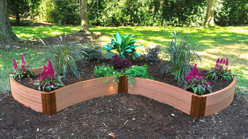 "Tool-Free 'OK Corral' - 8' x 8' Curved Corner Raised Garden Bed Raised Garden Beds Frame It All Classic Sienna 2"" 2 = 11"""