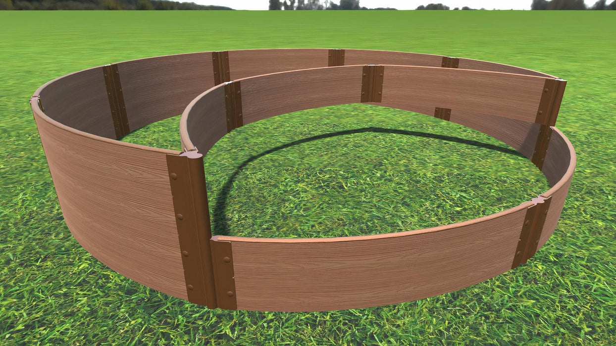 "Tool-Free 'Peppermint Cream' - 10' x 10' Circular Terrace Garden Raised Bed (Double Tier) Raised Garden Beds Frame It All Classic Sienna 1"" 2 Level"