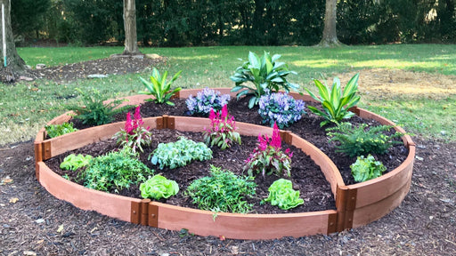 "Tool-Free 'Peppermint Cream' - 10' x 10' Circular Terrace Garden Raised Bed (Double Tier) Raised Garden Beds Frame It All Classic Sienna 2"" 1 Level"