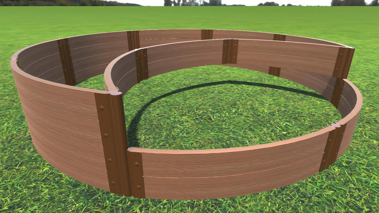 "Tool-Free 'Peppermint Cream' - 10' x 10' Circular Terrace Garden Raised Bed (Double Tier) Raised Garden Beds Frame It All Classic Sienna 2"" 2 Level"