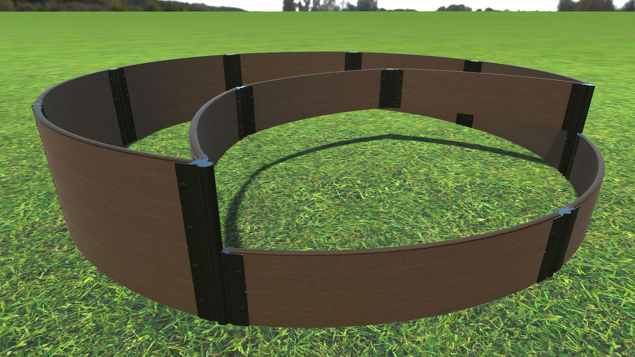 "Tool-Free 'Peppermint Cream' - 10' x 10' Circular Terrace Garden Raised Bed (Double Tier) Raised Garden Beds Frame It All Uptown Brown 1"" 2 Level"