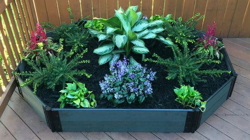 "Tool-Free 'Roman Bathtub' - 4' x 7' Raised Garden Bed (Octagon) Raised Bed Planters Frame It All Weathered Wood 1"" 2 = 11"""