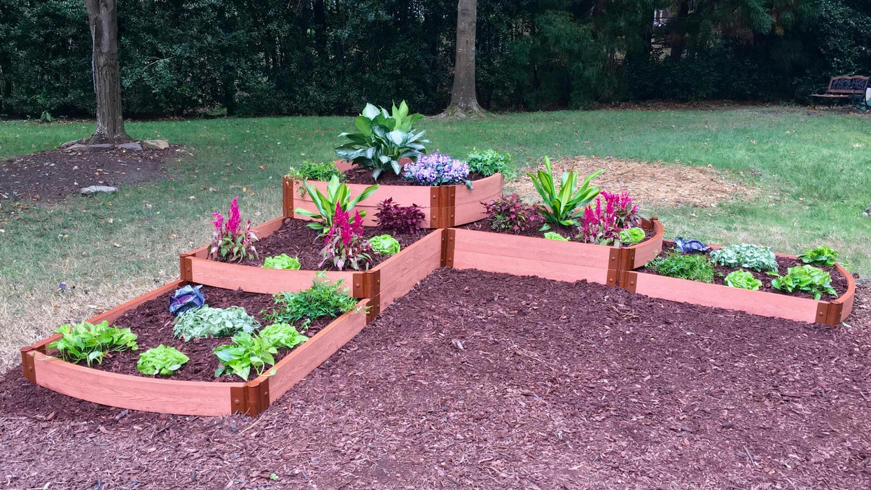 "Tool-Free 'Split Waterfall' - 12' x 12' x 22"" Terrace Garden Raised Bed (Triple Tier) Raised Garden Beds Frame It All Classic Sienna 2"""