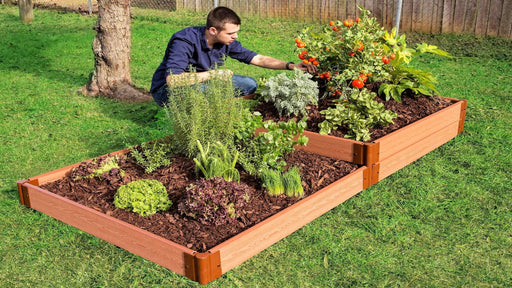"Tool-Free 'Stepper' - 4' x 8' x 11"" Terrace Garden Raised Bed (Double Tier) Raised Garden Beds Frame It All Classic Sienna 1"""
