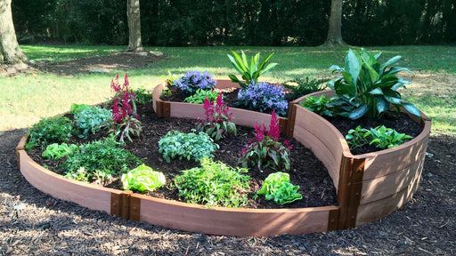 "Tool-Free 'Sugar Cone' - 10' x 10' Circular Terrace Garden Raised Bed (Triple Tier) Raised Garden Beds Frame It All Classic Sienna 2"" 1 Level"