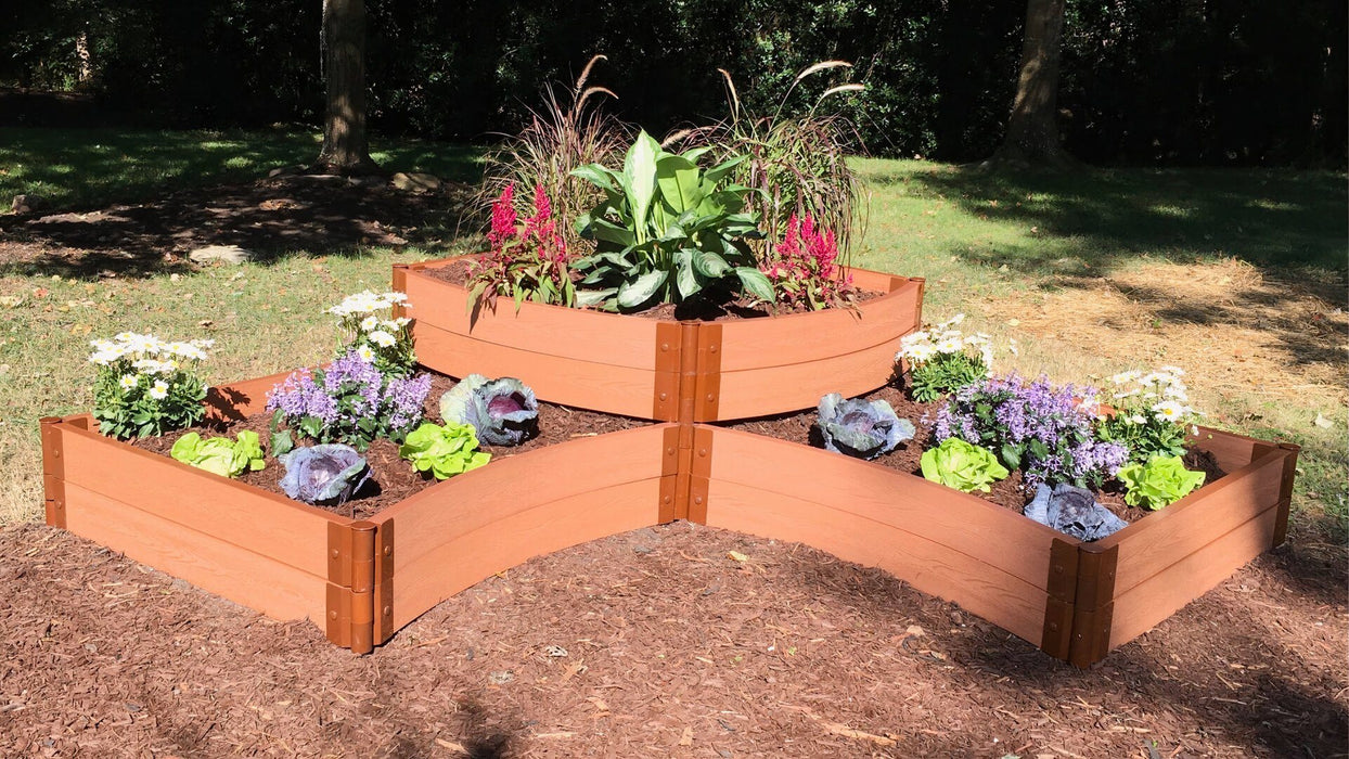 "Tool-Free 'Teardrop' - 8' x 8' Curved Corner Terrace Raised Garden Bed (Double Tier) Raised Garden Beds Frame It All Classic Sienna 2"" 2 Level Bottom with 2 Level Top"