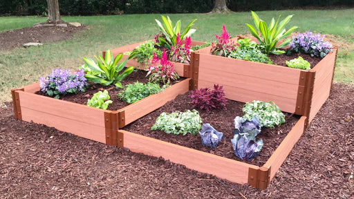 "Tool-Free 'Terraced Square' - 8' x 8' x 22"" Terrace Garden Raised Bed (Quad Tier) Raised Garden Beds Frame It All Classic Sienna 2"" 4 Tier Terrace"