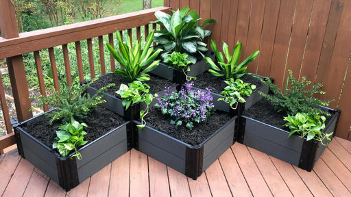"Tool-Free 'The Banaue' - 6' x 6' Terrace Garden Raised Bed (Triple Tier) Raised Bed Planters Frame It All Weathered Wood 1"" 3 Tier"