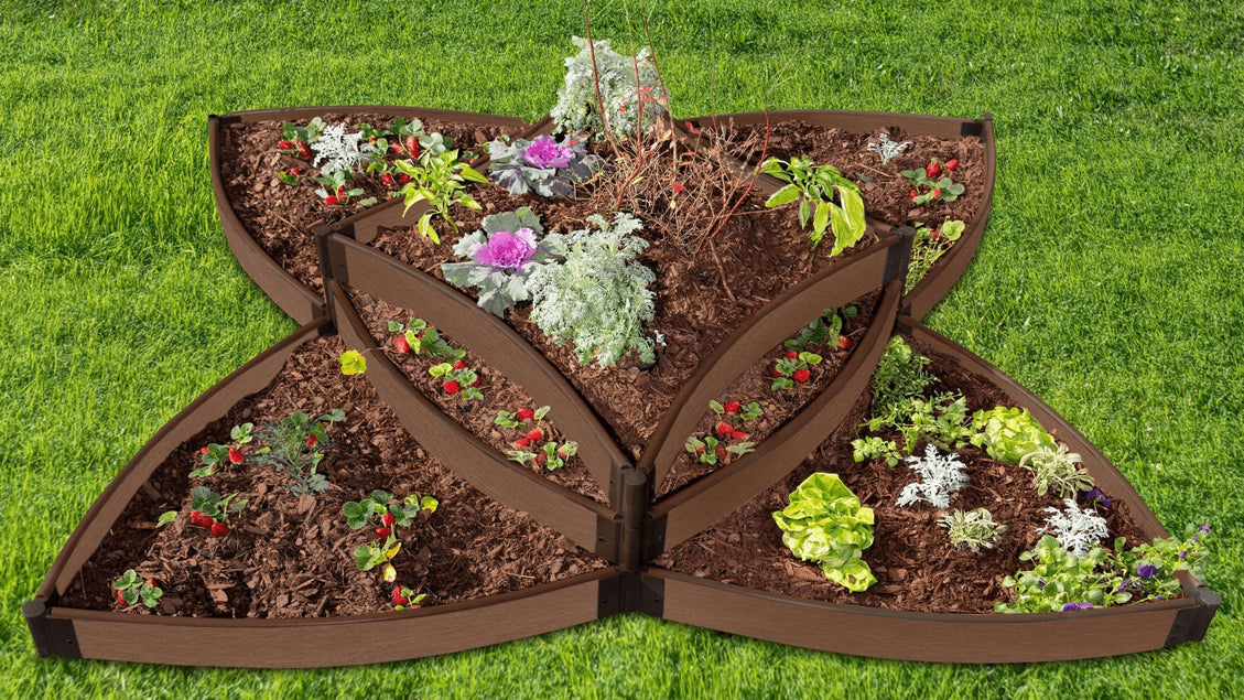 "Tool-Free 'Versailles Sunburst' 8 'x 8' x 16.5"" Terrace Garden Raised Bed (Triple Tier) Raised Garden Beds Frame It All Uptown Brown 1"""