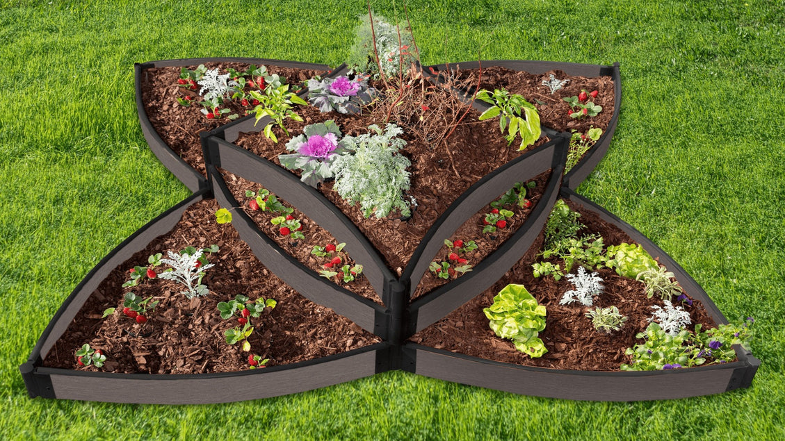 "Tool-Free 'Versailles Sunburst' 8 'x 8' x 16.5"" Terrace Garden Raised Bed (Triple Tier) Raised Garden Beds Frame It All Weathered Wood 1"""