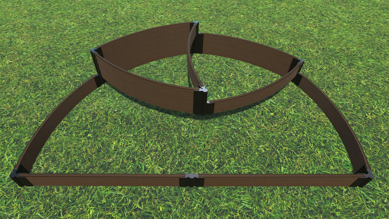 "Tool-Free 'Victory Cockade' - 6' x 8' x 16.5"" Semi Circle Terrace Garden Raised Bed (Triple Tier) Raised Garden Beds Frame It All Uptown Brown 1"" 3 Tier Terrace"