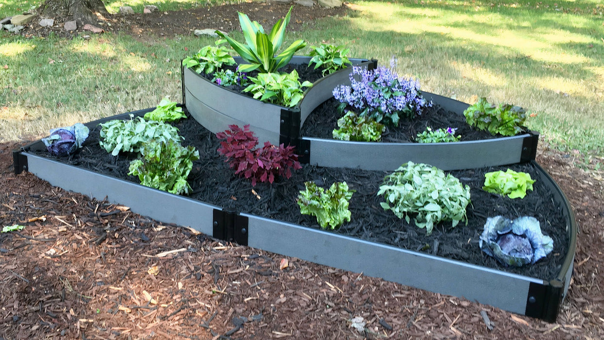 "Tool-Free 'Victory Cockade' - 6' x 8' x 16.5"" Semi Circle Terrace Garden Raised Bed (Triple Tier) Raised Garden Beds Frame It All Weathered Wood 1"" 3 Tier Terrace"
