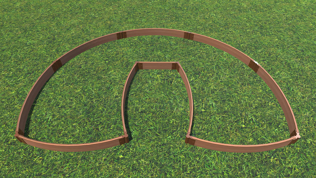 "Tool-Free 'Walk-In Lucky Horseshoe Curved' - 6' x 9' Raised Garden Bed Raised Garden Beds Frame It All Classic Sienna 1"" 1 = 5.5"""