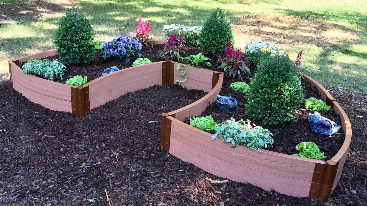 "Tool-Free 'Walk-In Lucky Horseshoe Curved' - 6' x 9' Raised Garden Bed Raised Garden Beds Frame It All Classic Sienna 2"" 2 = 11"""