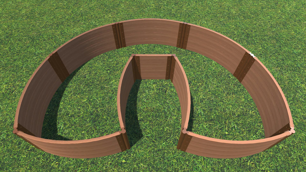 "Tool-Free 'Walk-In Lucky Horseshoe Curved' - 6' x 9' Raised Garden Bed Raised Garden Beds Frame It All Classic Sienna 2"" 4 = 22"""