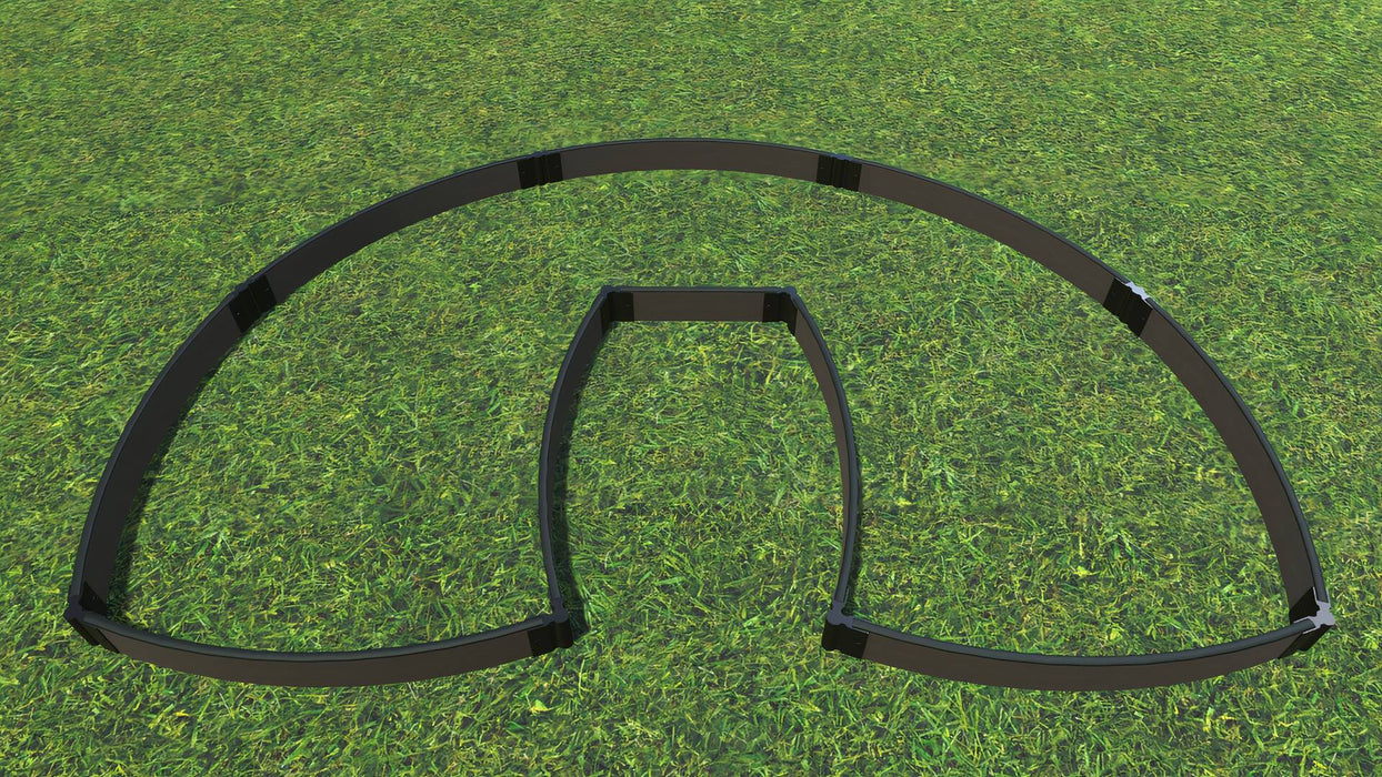 "Tool-Free 'Walk-In Lucky Horseshoe Curved' - 6' x 9' Raised Garden Bed Raised Garden Beds Frame It All Weathered Wood 1"" 1 = 5.5"""