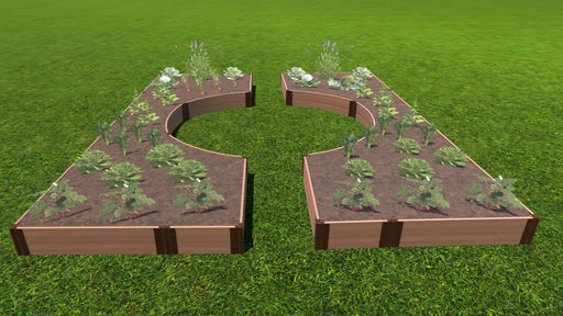 "Tool-Free 'Walk-Through Center Circle' - 14' x 16' Raised Garden Bed Raised Garden Beds Frame It All Classic Sienna 1"" 2 = 11"""