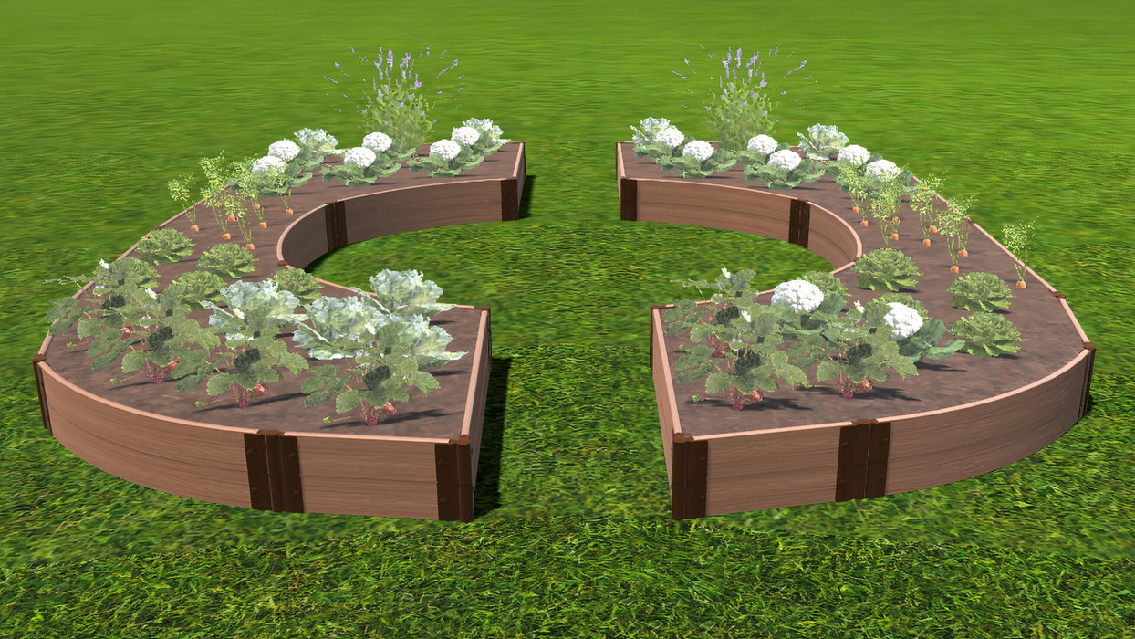 "Tool-Free 'Walk-Through Inner Circle Curved Edges' - 14' x 16' Raised Garden Bed Raised Garden Beds Frame It All Classic Sienna 1"" 2 = 11"""