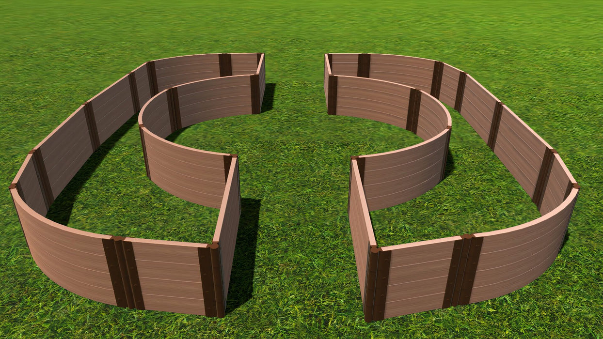 "Tool-Free 'Walk-Through Inner Circle Curved Edges' - 14' x 16' Raised Garden Bed Raised Garden Beds Frame It All Classic Sienna 2"" 4 = 22"""