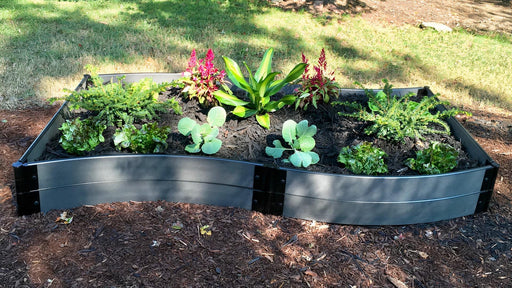 "Tool-Free 'Wavy Navy' - 4' x 8' Raised Garden Bed Raised Garden Beds Frame It All Weathered Wood 1"" 2 = 11"""