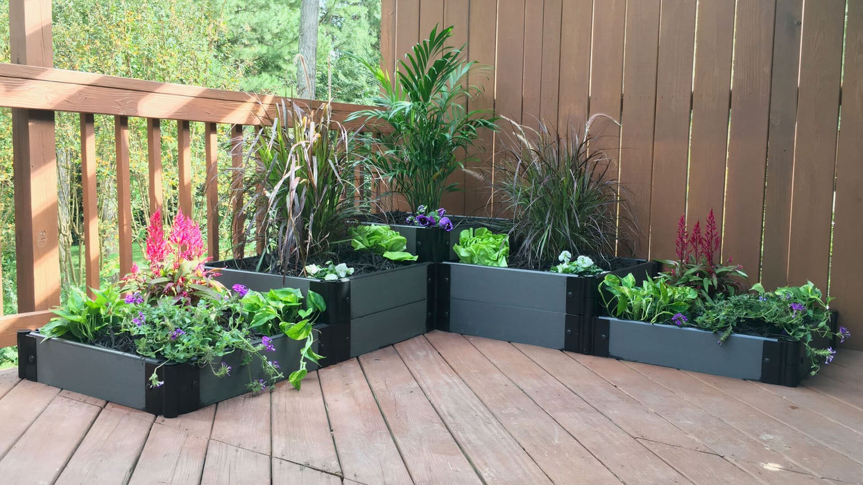 "Tool-Free 'Yosemite Falls' - 6' x 6' Terrace Garden Raised Bed (Triple Tier) Raised Bed Planters Frame It All Weathered Wood 1"" Design A (3 Level High)"