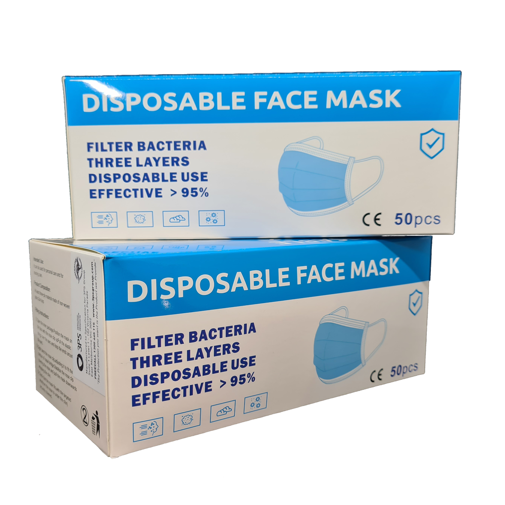 DISPOSABLE FACE MASKS - Box of 50