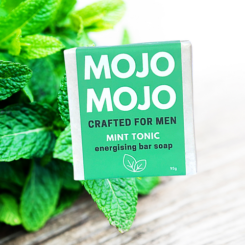 MINT TONIC energising bar soap packaged with ingredients background