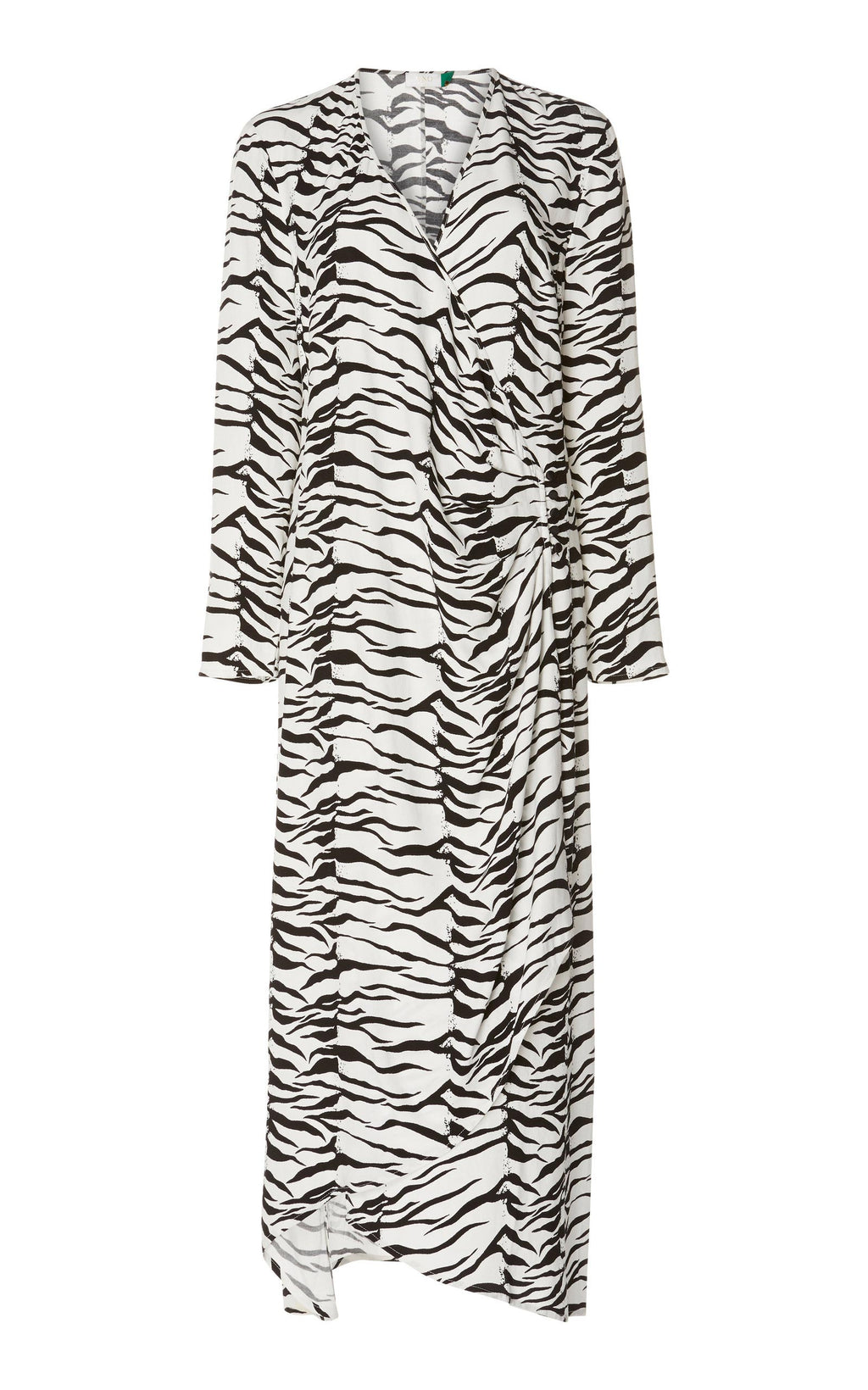 Rent RIXO Mono Tiger Print Long Sleeve Midi Dress from Rotaro