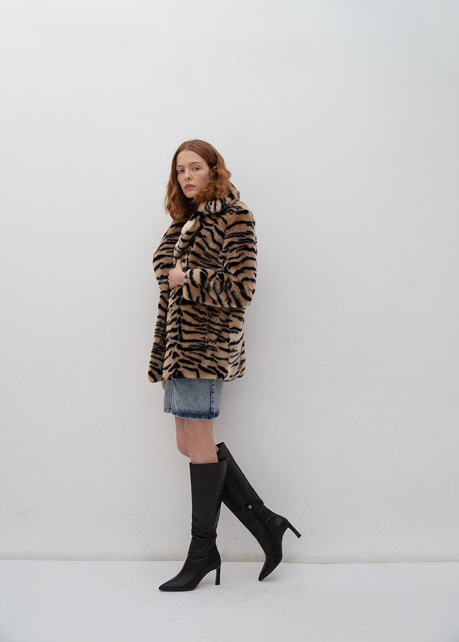 Rent Jakke Heather Tiger Print Faux Fur Coat from Rotaro