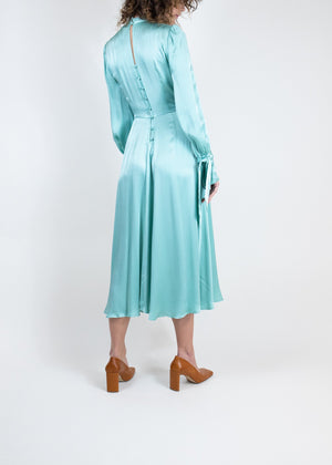 Rent Ghost Mint Satin Tie Detail Midi Dress from Rotaro