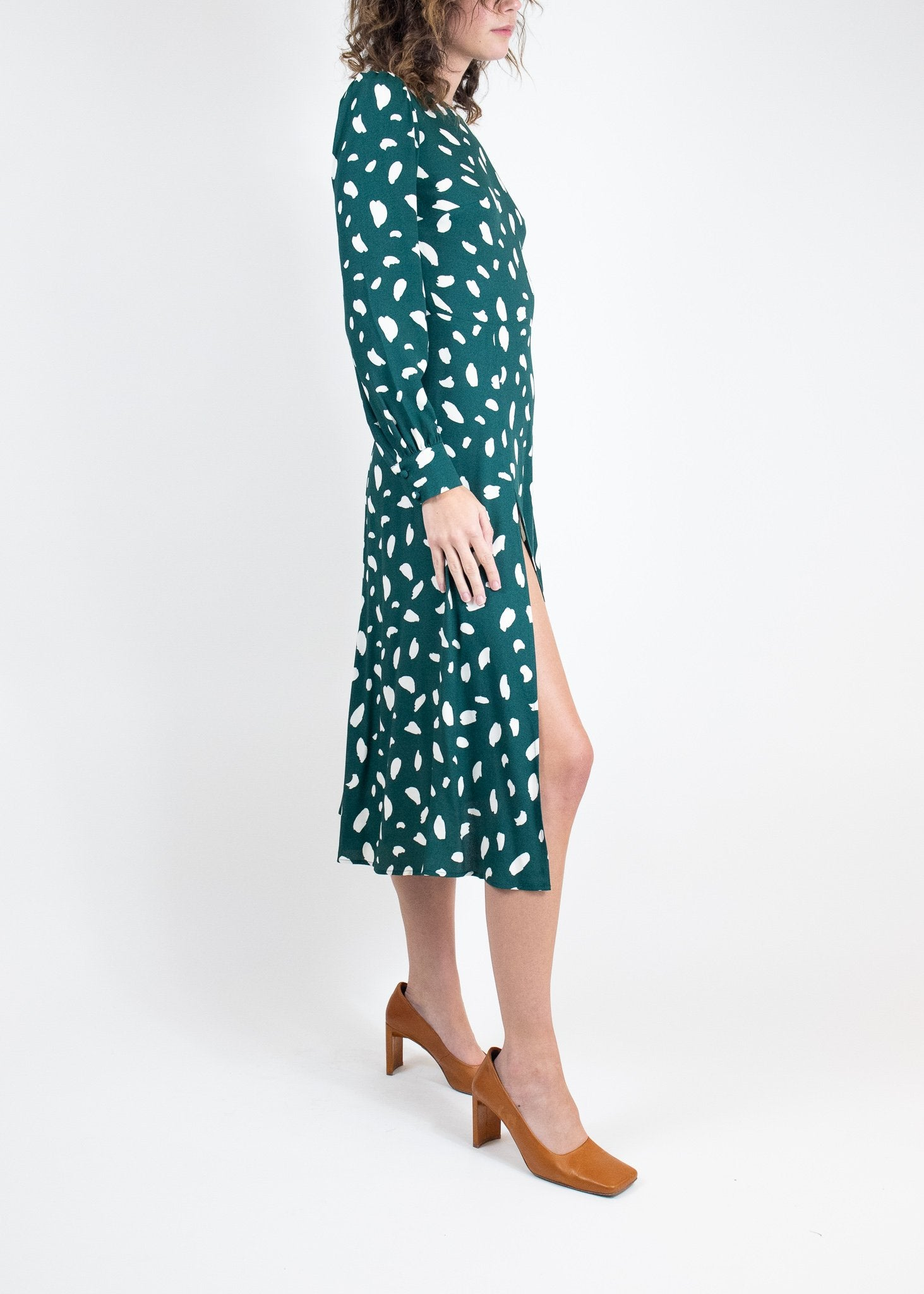 Rent Reformation Green Long Sleeve Side Slit Midi Dress from Rotaro