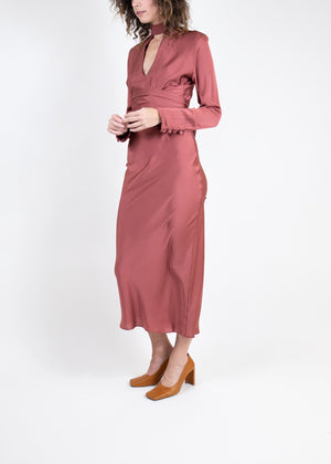 Rent The Line By K Maroon Belted Satin Midi Dress from Rotaro