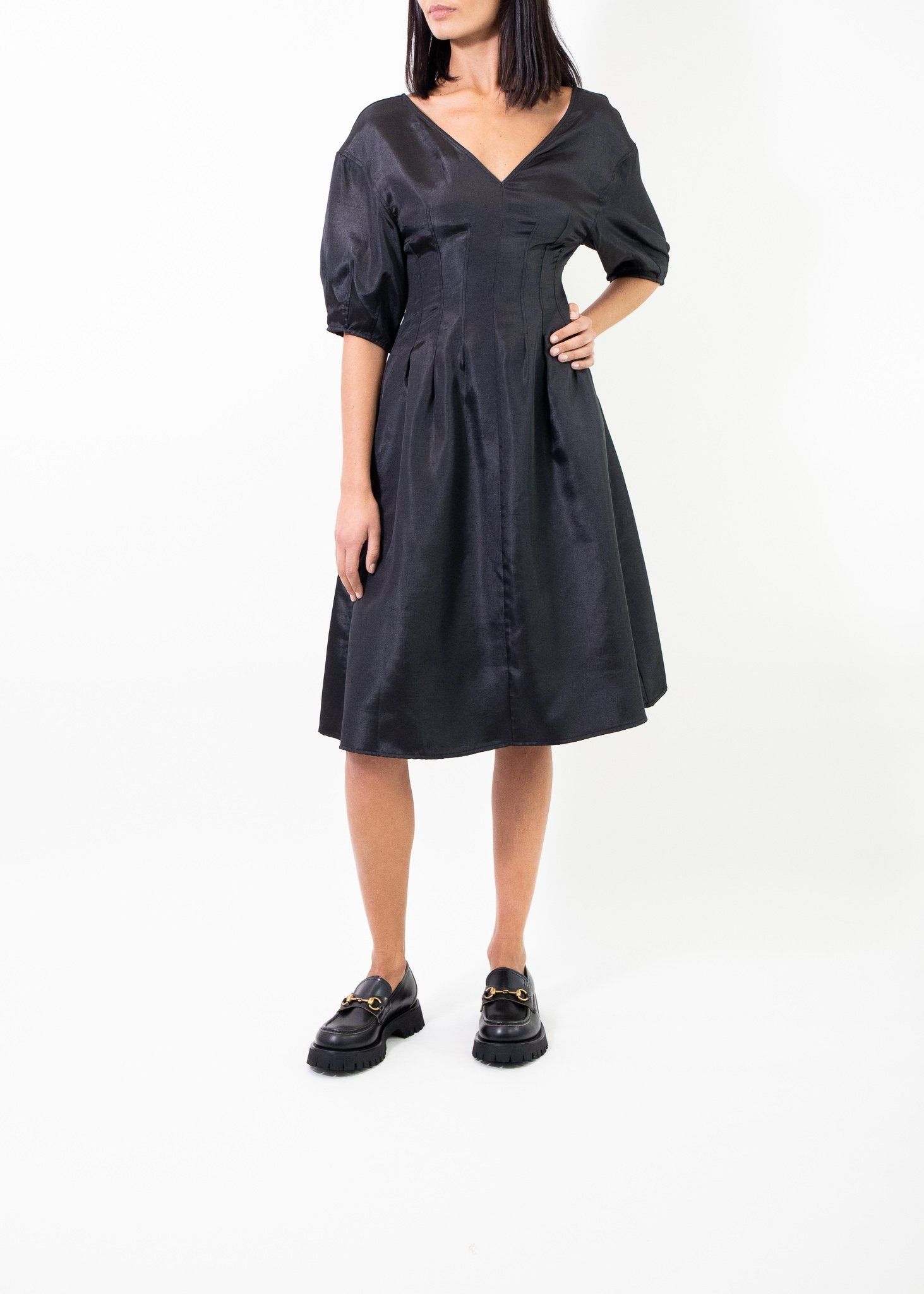 Rent Baum Und Pferdgarten Black Ayala Midi Dress from Rotaro