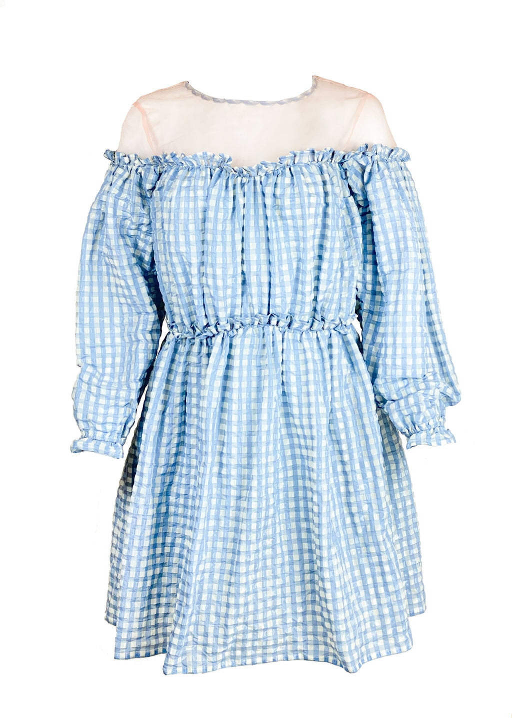 Rent Shrimps Blue & White Gingham Mesh Mini Dress from Rotaro