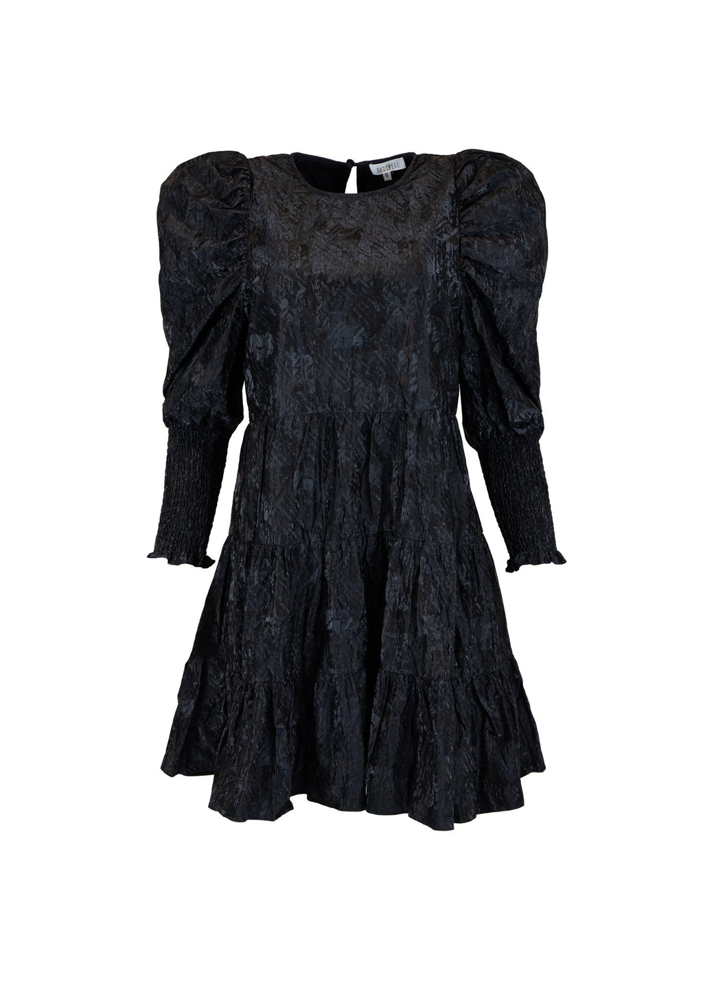 Rent Ghospell Rubberised Black Puff Sleeve Mini Dres from Rotaro