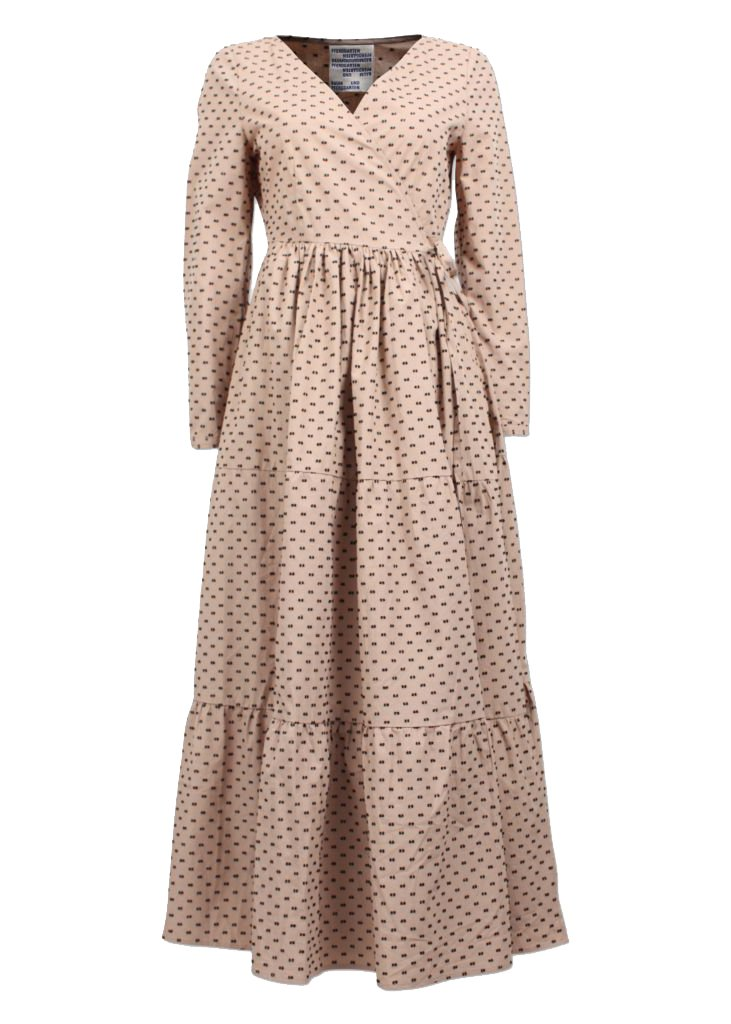 Rent Baum Und Pferdgarten Tan Embroidered Detail Maxi Wrap Dress from Rotaro