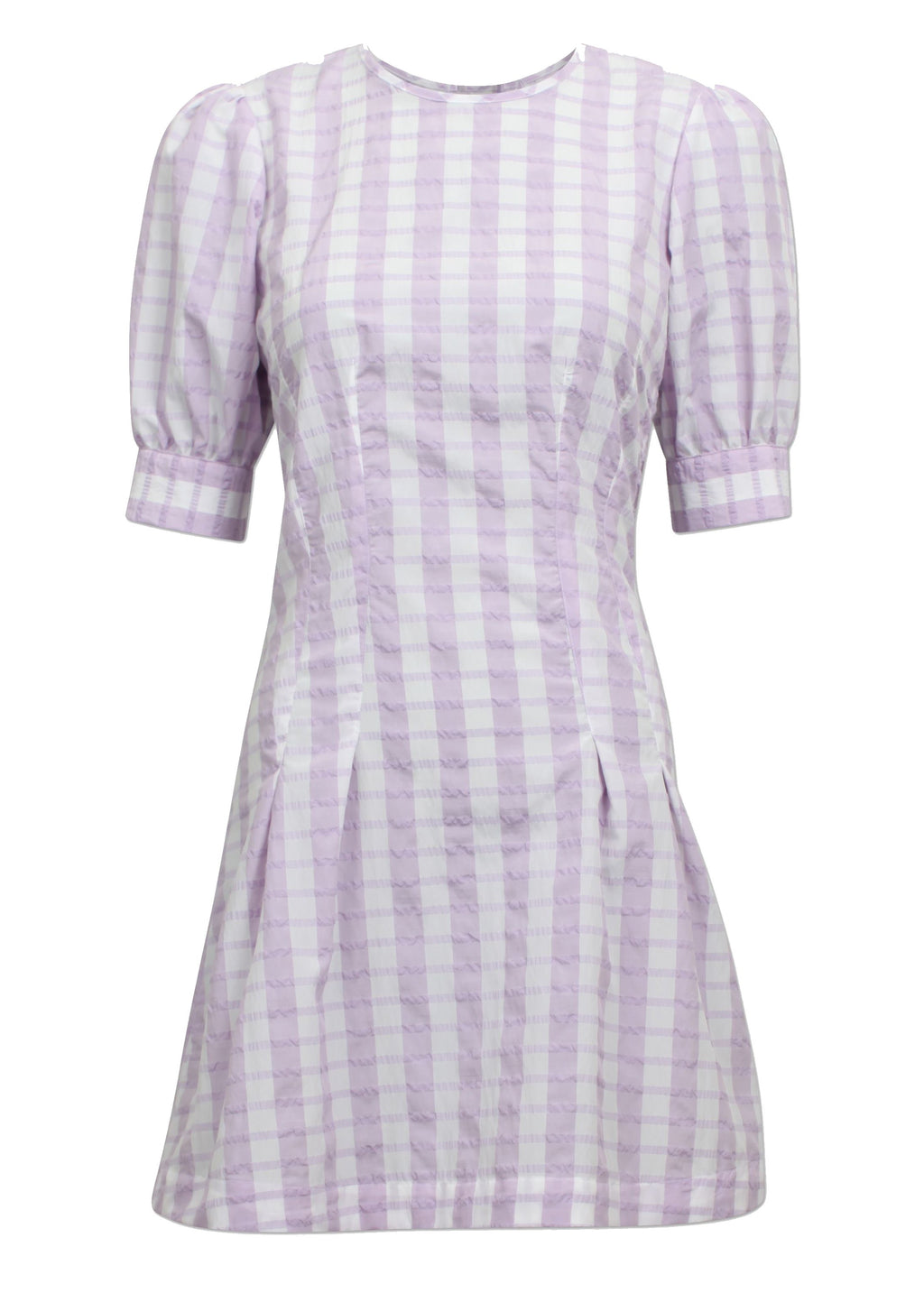 Rent Baum Und Pferdgarten Lilac Check Open Tie Back Mini Dress from Rotaro
