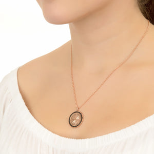 Reversible Moral Compass Star Burst Pendant Necklace rosegold