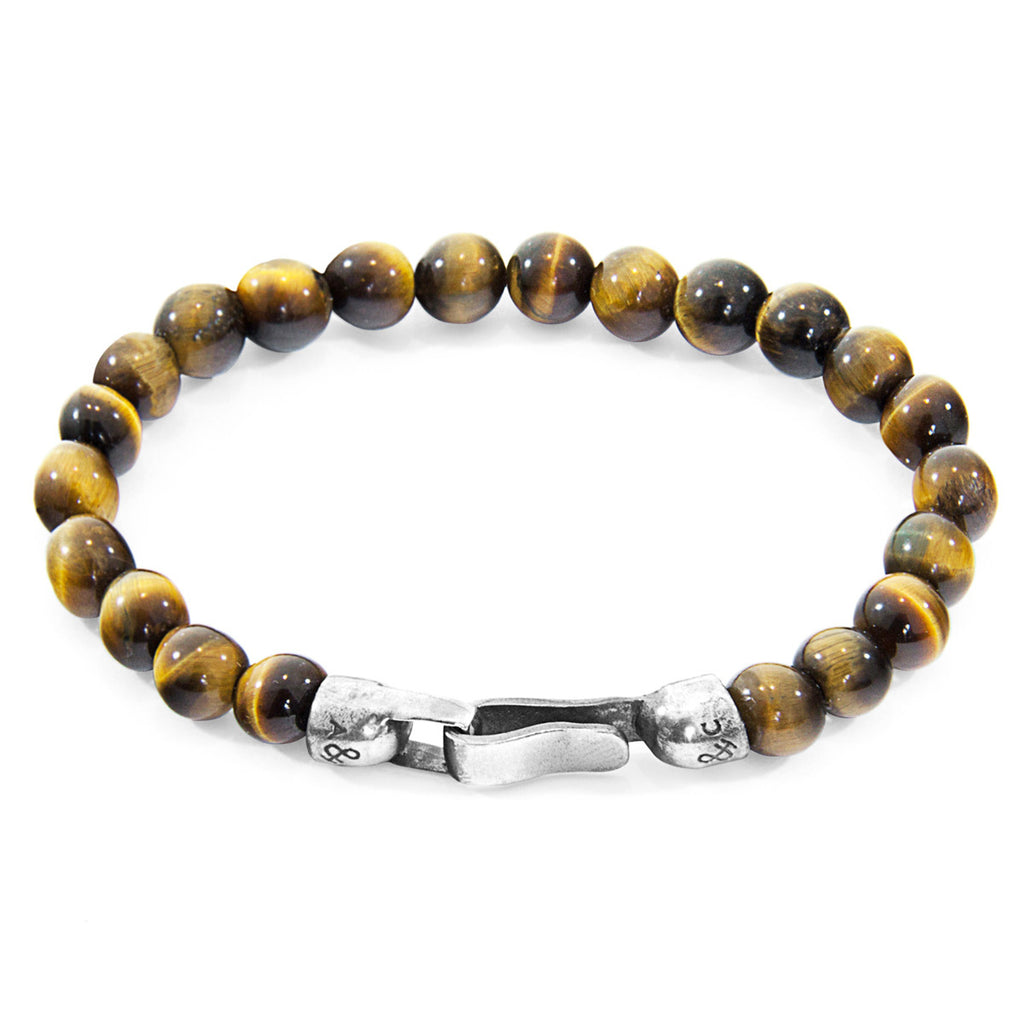 Unisex Tigers Eye Outrigger Silver & Stone Bracelet