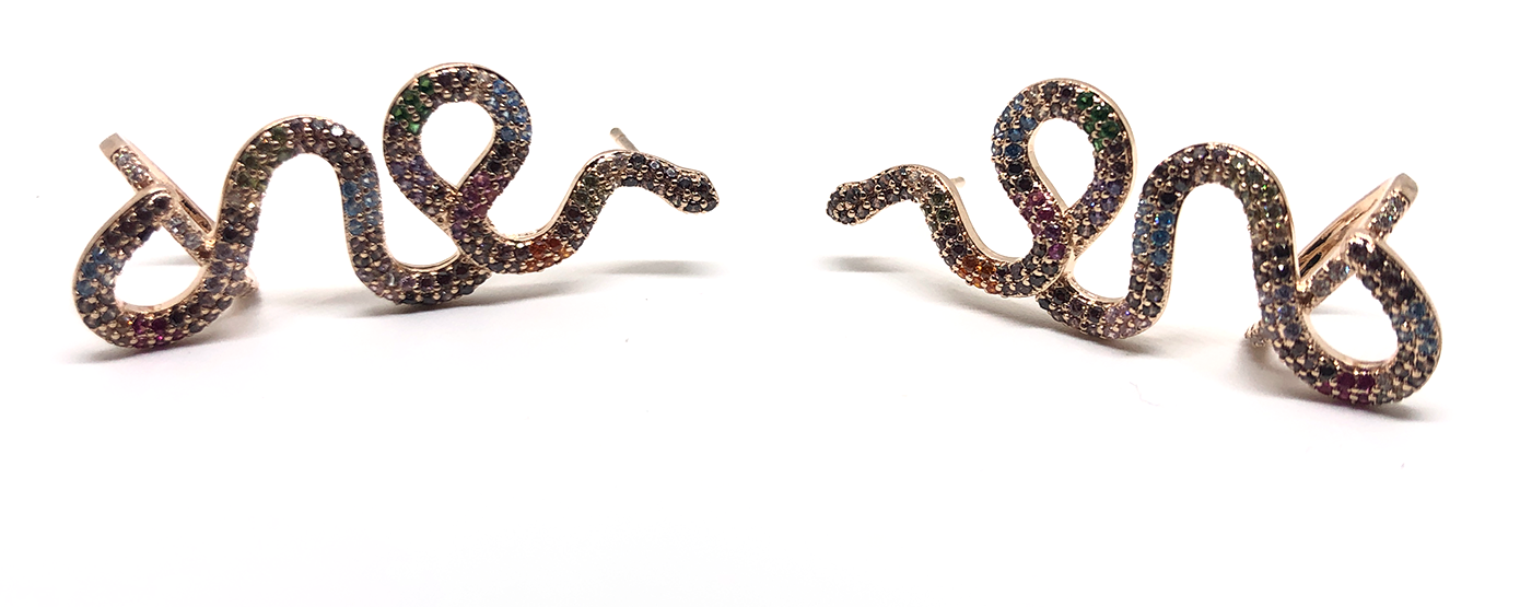 Brinco Ear Cuff Serpente Zircônia Colorida