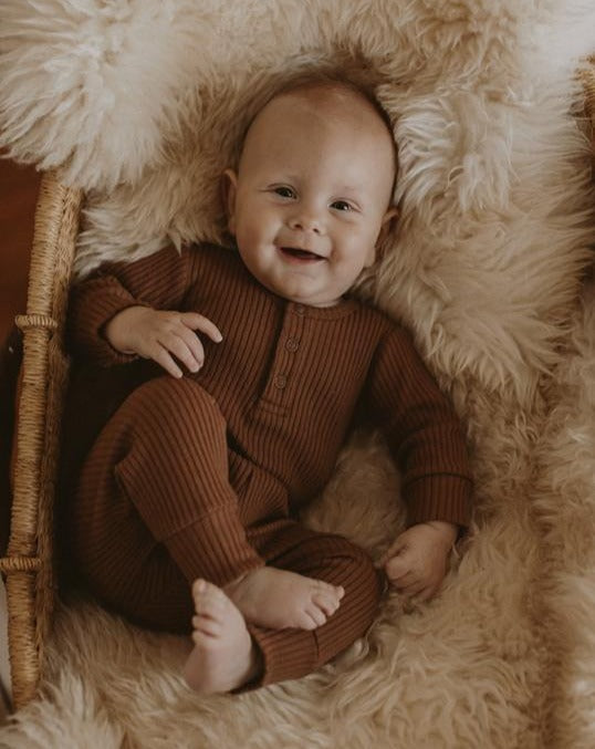 The Ribbed Onesie Bronze | The Simple Folk