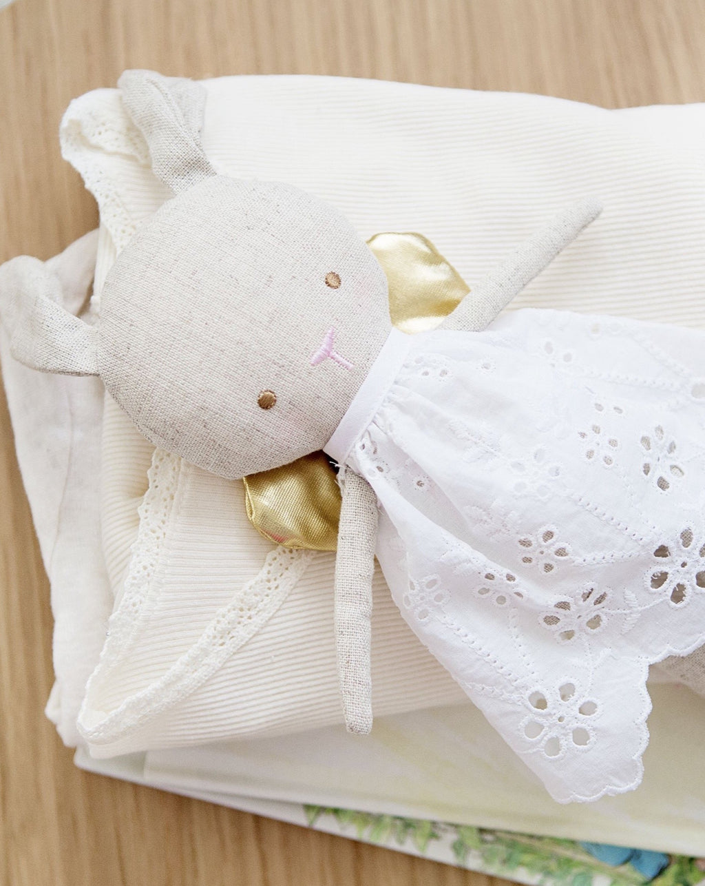 Linen Baby Angel Bunny Gold